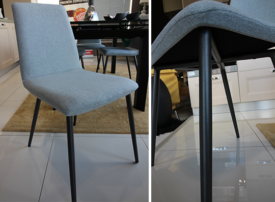 Sedia moderna in tessuto grigio